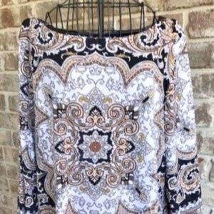 Charter Club Tunic Top Oriental Paisley Brown EUC